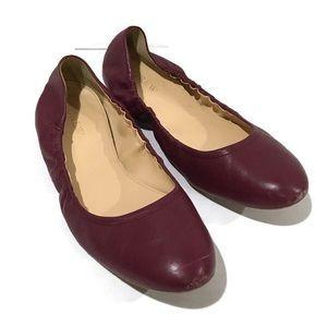 J. Crew Burgundy Leather Slip On Ballet Flats